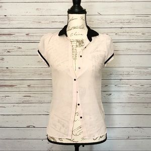 Pink Collared Button Down Zara Blouse
